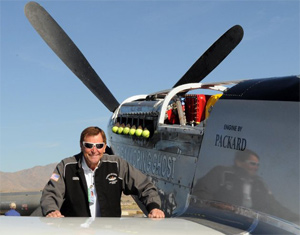 Jimmy Leeward with his P-51, Galloping Ghost, in 2010.